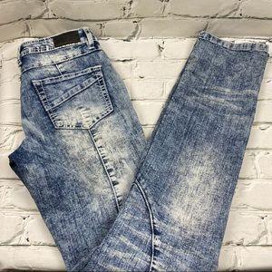 UR2B acid wash mid rise straight leg jeans